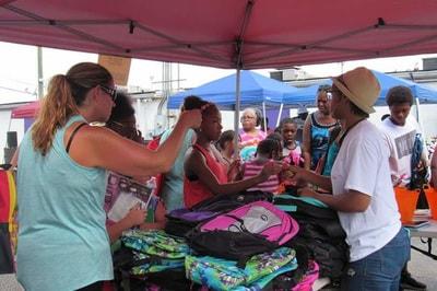 people buying school supplies